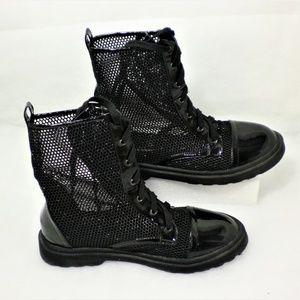 Black Glitter Mesh Combat boots Size 9